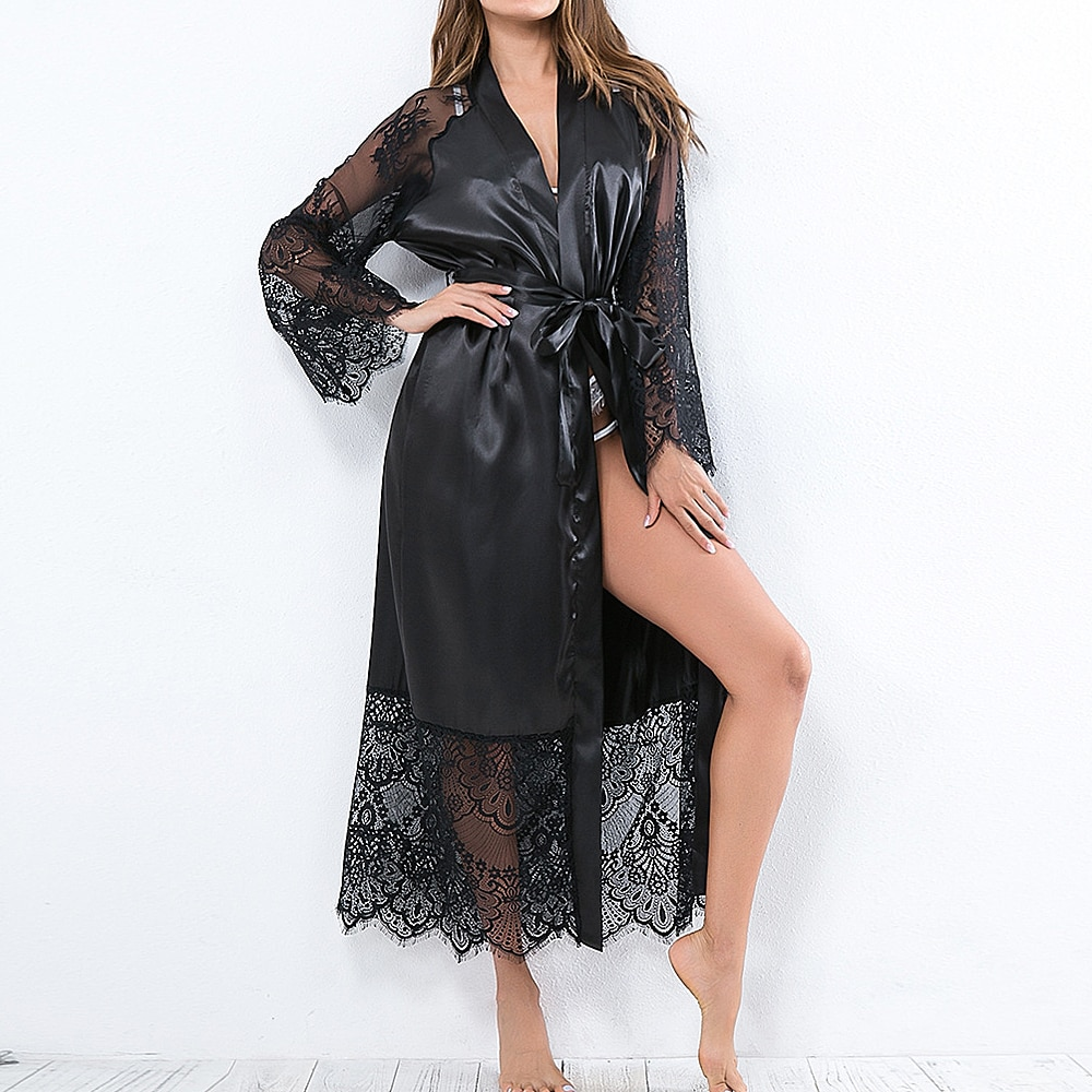 2020 mujeres Sexy encaje satinado de seda Kimono Robe Albornoz Lencería ropa de dormir pijamas señora caliente Sexy tentador encaje translúcido verano