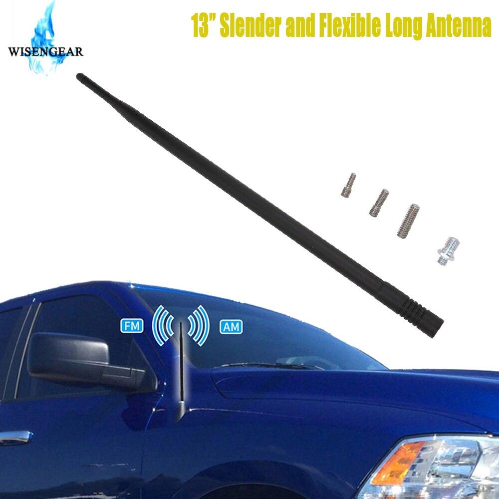 """13 """"Antena de Metal de coche mástil aéreo para Dodge Ram 1500 2500 3500 camión 2009-2017 negro Auto AM FM Radio señal amplificador antena"""