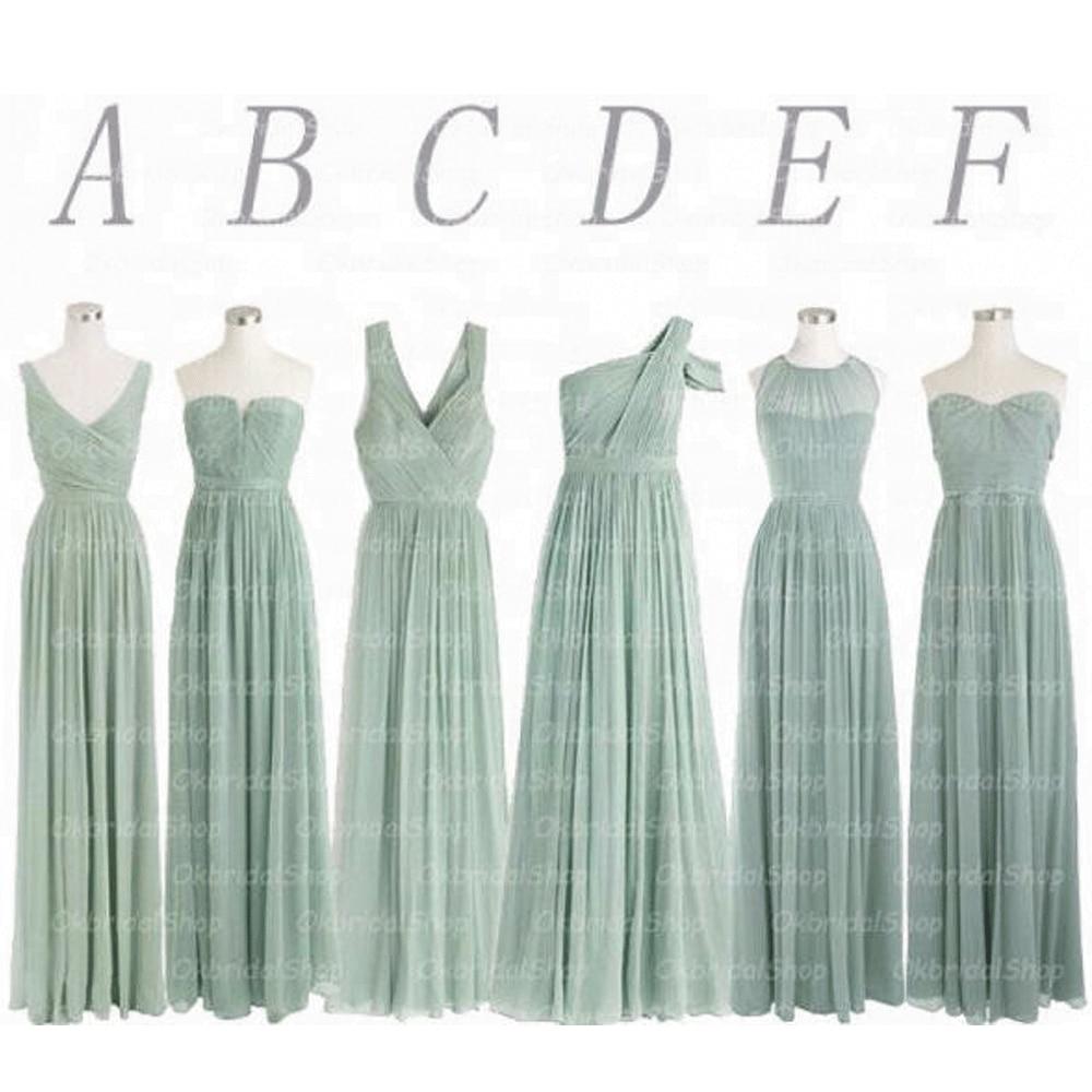 SuperKimJo Vestido Madrinha Salvia Vestidos de dama de honor de color verde largo chifón Vestido de Fiesta de casamiento económica desigual Vestidos Fiesta Boda