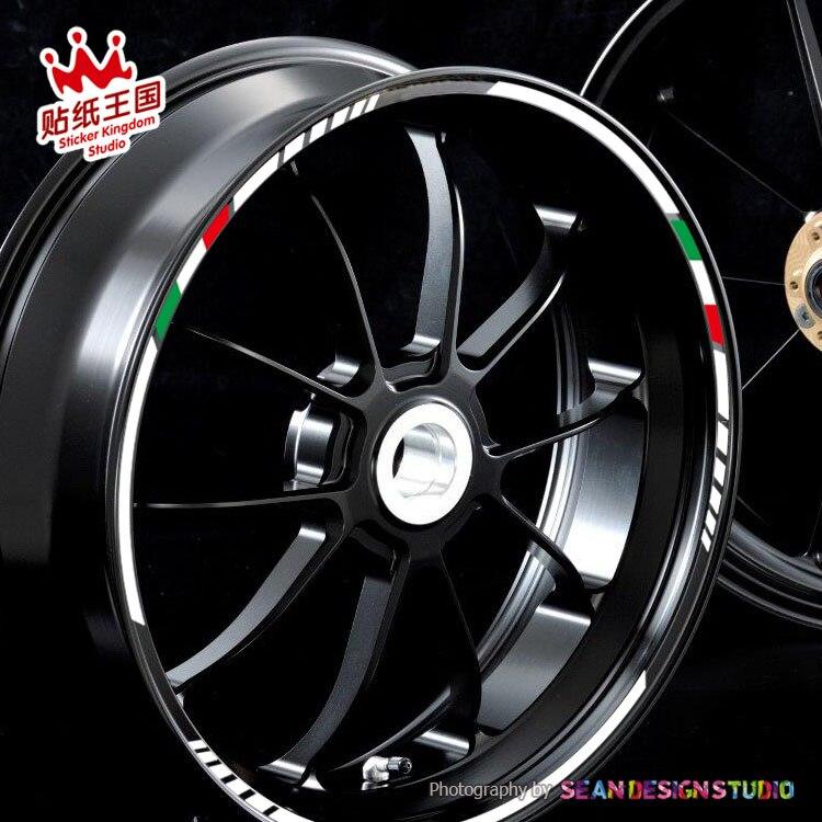 4 tiras para Aprilia MV Agusta Benelli Italia pegatina de rueda bicicleta de borde reflectante motocicleta adecuada para neumáticos de 17,18 pulgadas
