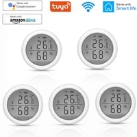 Tuya     capteur dhumidite et de temperature dinterieur  hygrometre  WIFI  avec ecran LCD  pour maison connectee  compatible avec Alexa et Google Assistant