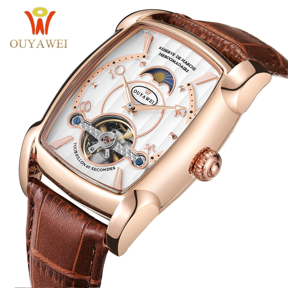 Reloj mecánico para hombre reloj de pulsera rectangular con esqueleto marca de lujo automático relojes tourbillon reloj Masculino