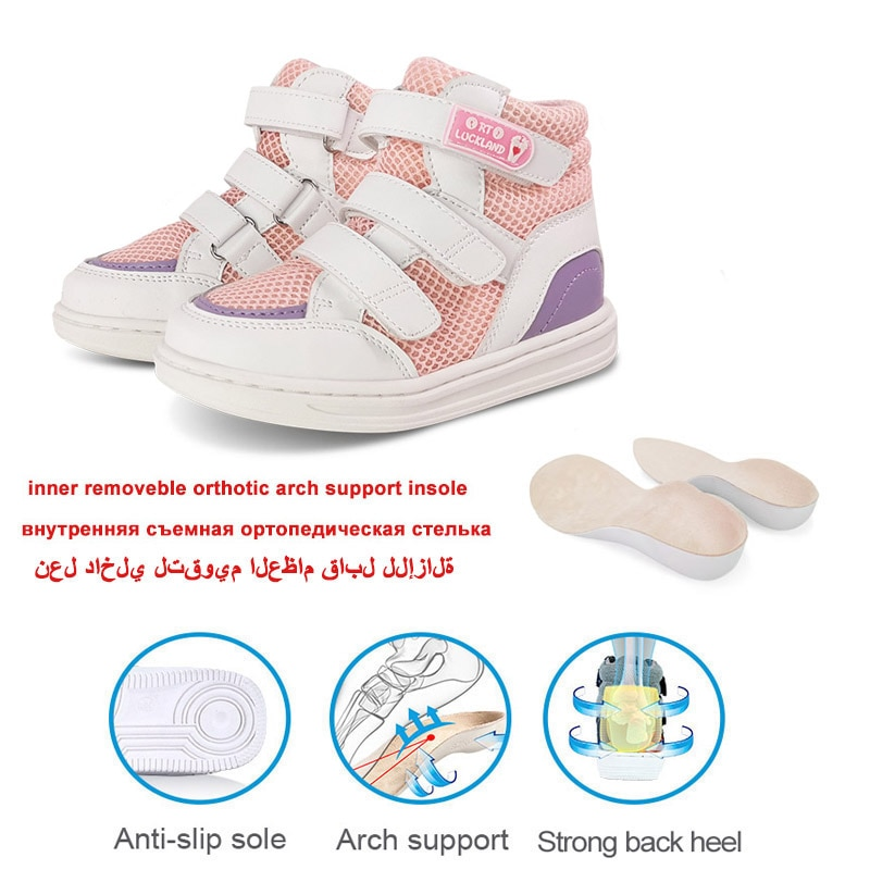Ortoluckland Girls Casual Shoes Children Sneakers Trainers Pink Ankle Rubber Boots Rigid Orthopedic Flatfeet Footwear For Kids enlarge