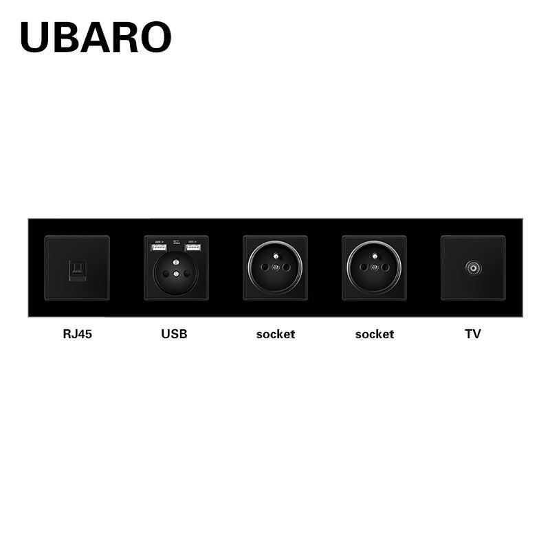 UBARO الفرنسية القياسية الزجاج المقسى مقبس الحائط مع RJ45 RJ11 محطات إشارة التلفزيون Usb 5 فولت 2A المقابس منفذ المنزل AC110-250V 16A