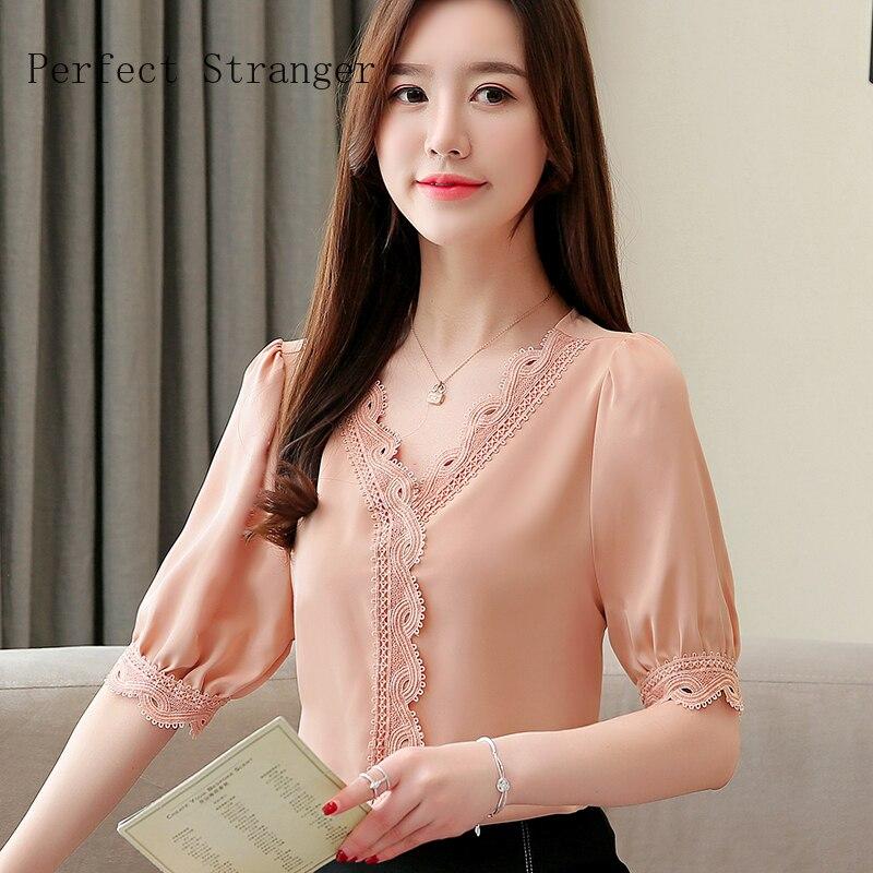 2020 Spring New Arrival High Quality  V Collar Short Sleeve Women Chiffon Blouse
