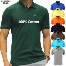 למעלה איכות 2020 חדש מוצק צבע Mens Polos חולצות 100% כותנה קצר שרוול מזדמן Polos Hommes אופנה קיץ דש זכר חולצות