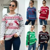 2020 winter vintage merry christmas sweaters women long sleeve autumn snowflake deer print knitted female pullover chic jumper
