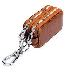 Genuine Leather Key Wallets Unisex Key Bag Men Car Key Holders Double Zipper Keychain Case Women Sma
