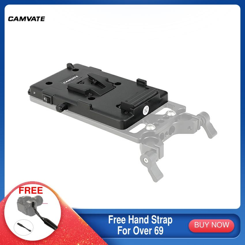 CAMVATE Camera V-Lock Quick Release Battery Mounting Plate With LP-E6 Dummy Battery Adapter For DSLR Camera Battery Mounting New