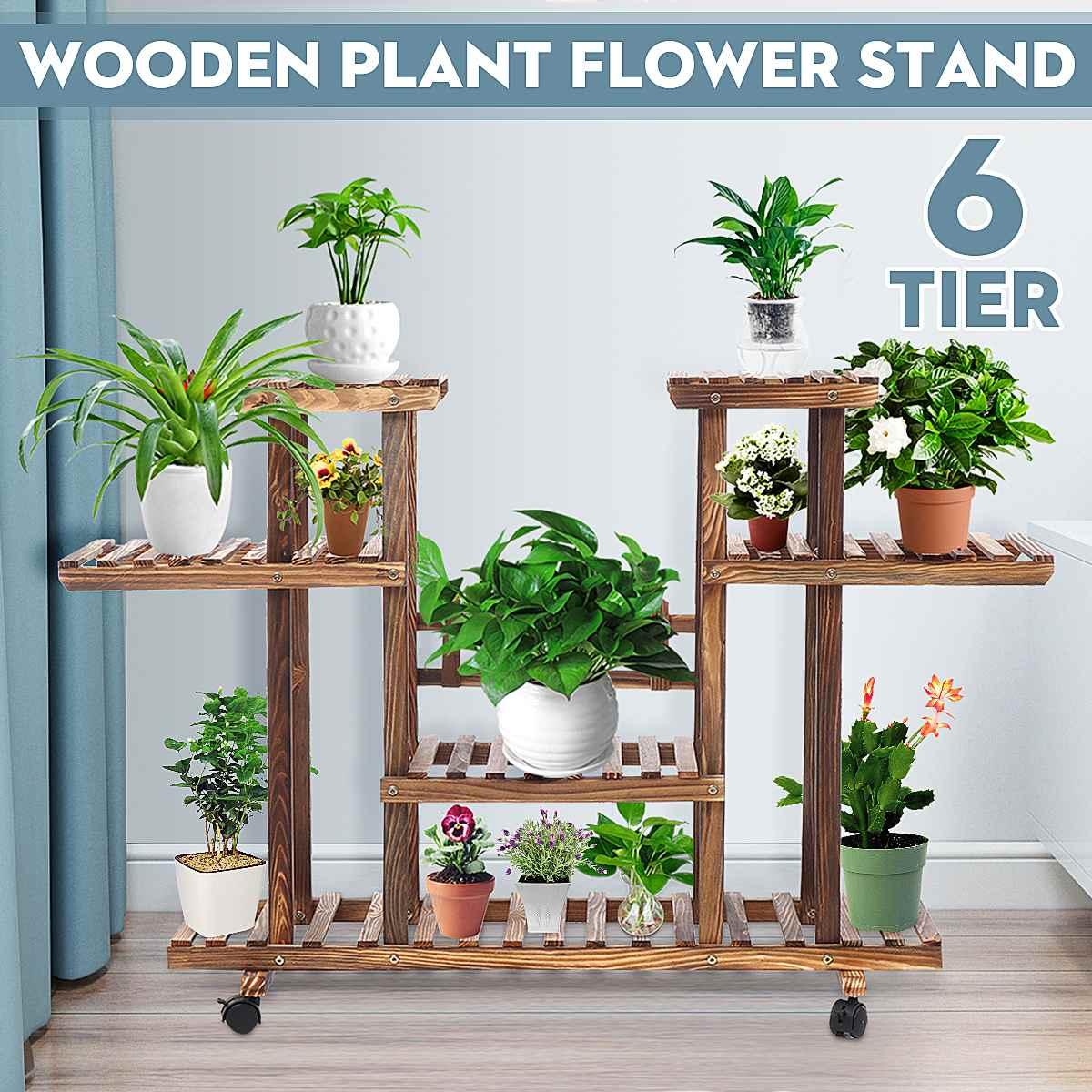 6-Tier 116*25*72cm Wood Flower Pot Plant Stand Home Garden Storage Display Shelves for Indoor Outdoor Yard Garden Patio Balcony