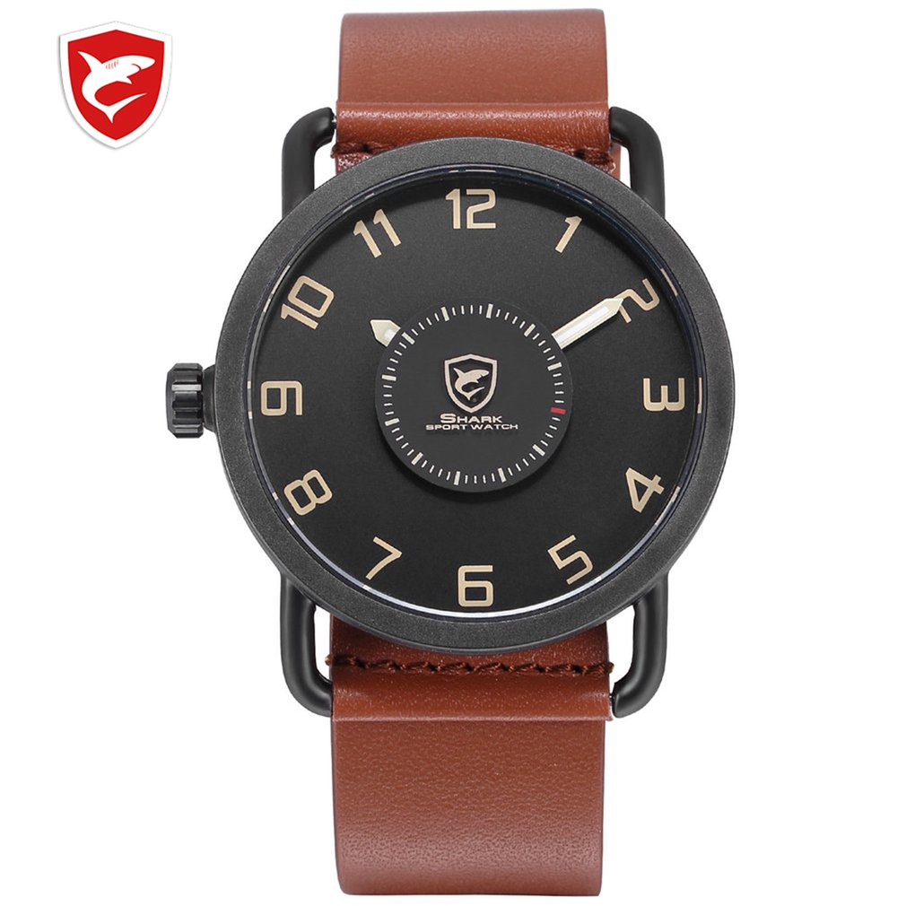 SH523 Caribbean Rough Shark Sport Watch Turntable Second Hand Fashion Brown Leather Band Quartz Relojes Hombre Creative Watches