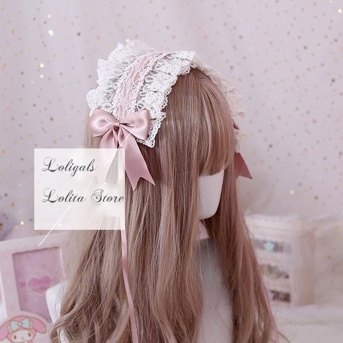Die Göttin der Liebe ~ Süße Lolita Stirnband Gekräuselte Spitze Haarband mit Clip