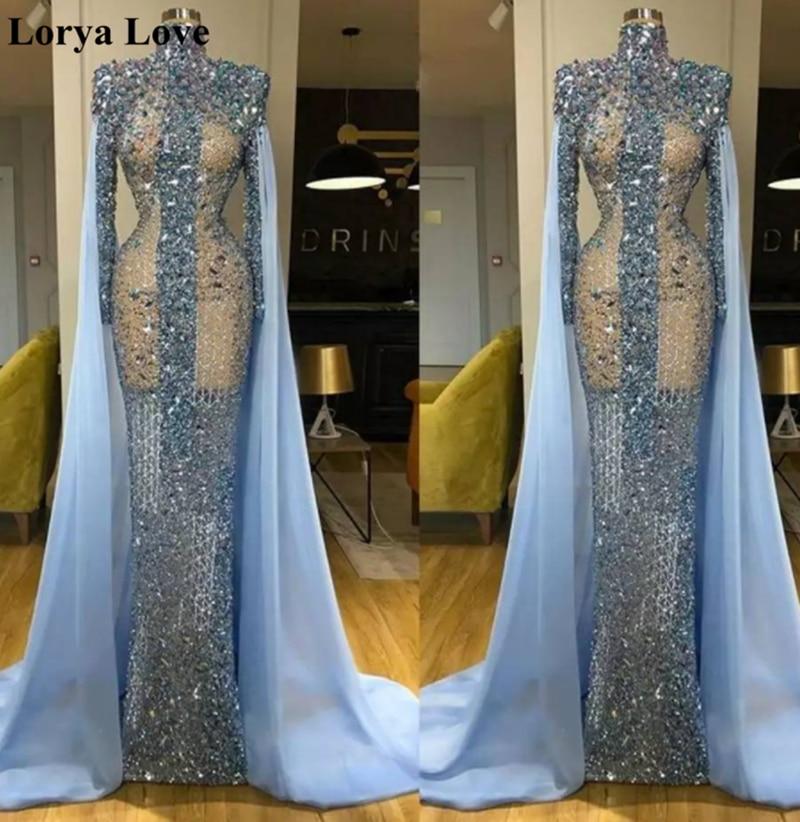 Elegant Luxurious Evening Dresses 2020 Women Formal Party Prom Gowns Champagne Long Sleeves Lace Appliques Vestidos De Noiva