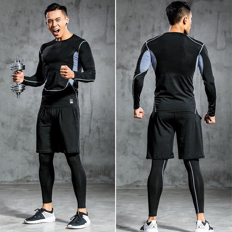 Спортивный костюм, одежда для тренажерного зала, Мужская компрессионная спортивная одежда, одежда для фитнеса, костюмы для бега и бега, трен...