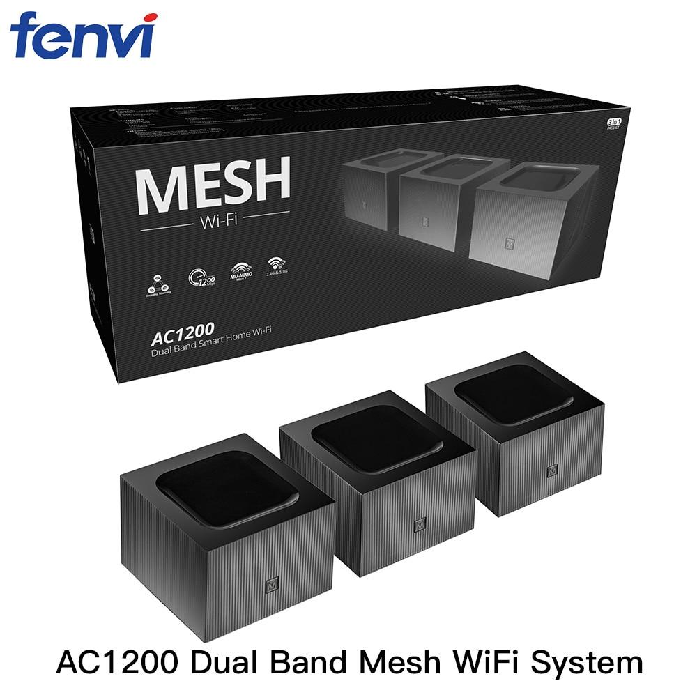 Fenvi شبكة المنزل كله اللاسلكية واي فاي نظام 2.4G/5.8GHz واي فاي اللاسلكية جيجابت راوتر عالية السرعة Wireless-AC1200 جسر مكرر