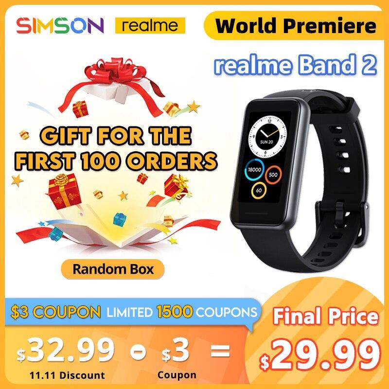 [해외] realme Band 2 Smartband 1.4 대형 컬러 디스플레이 SpO2 모니터 심박수 추적기 5 ATM 방수 스마트 손목 시계 남성용