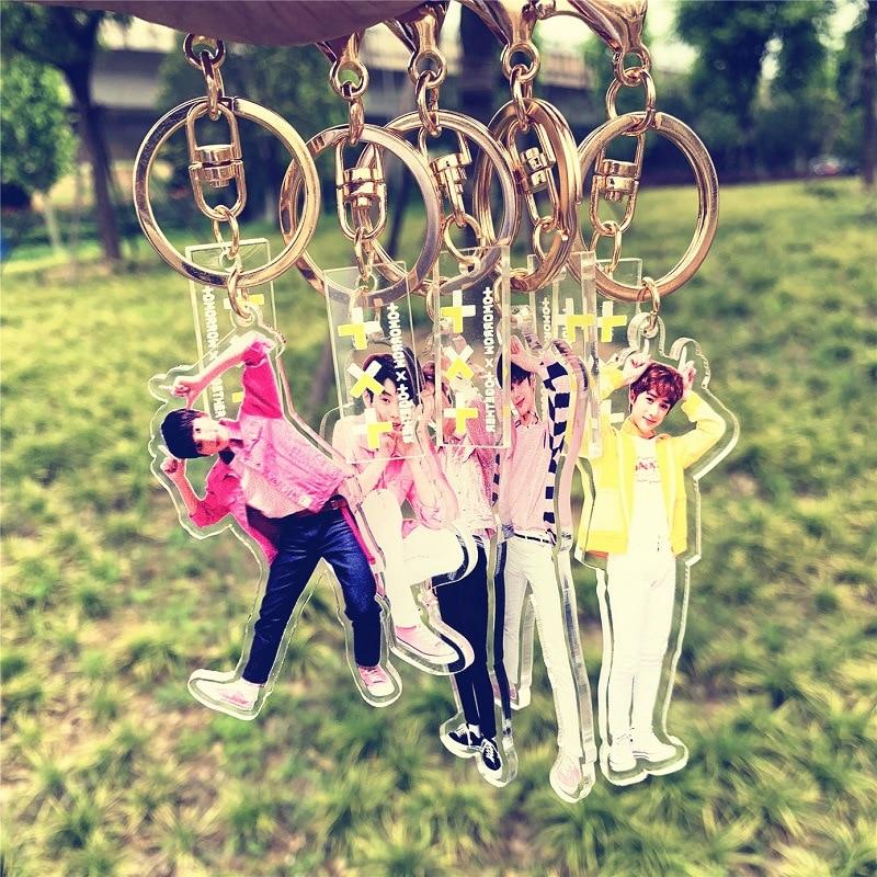 10 pcs/lot KPOP TAEHYUN SOOBIN HUENINGKAI BEOMGYU YEONJUN TXT Acrylic Keychain Printing Bag Pendant Key Ring toy Gifts