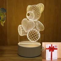 3d led novelty illusion love bear table lamp push button switch indoor night light for bedroom indie kids decor birthday gift