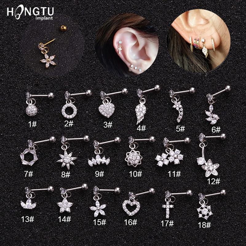 1PC Zircon Ear Stud Stainless Steel Heart Daith Piercing Fashion Gold Silver Color Cartilage Earrings for Women Body Jewelry 20G