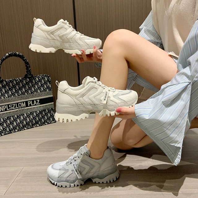 AIYUQI Women's Sneakers 2021 Summer New Single Mesh Platform Casual Shoes Ladies Korean Student Shoes Girl 4