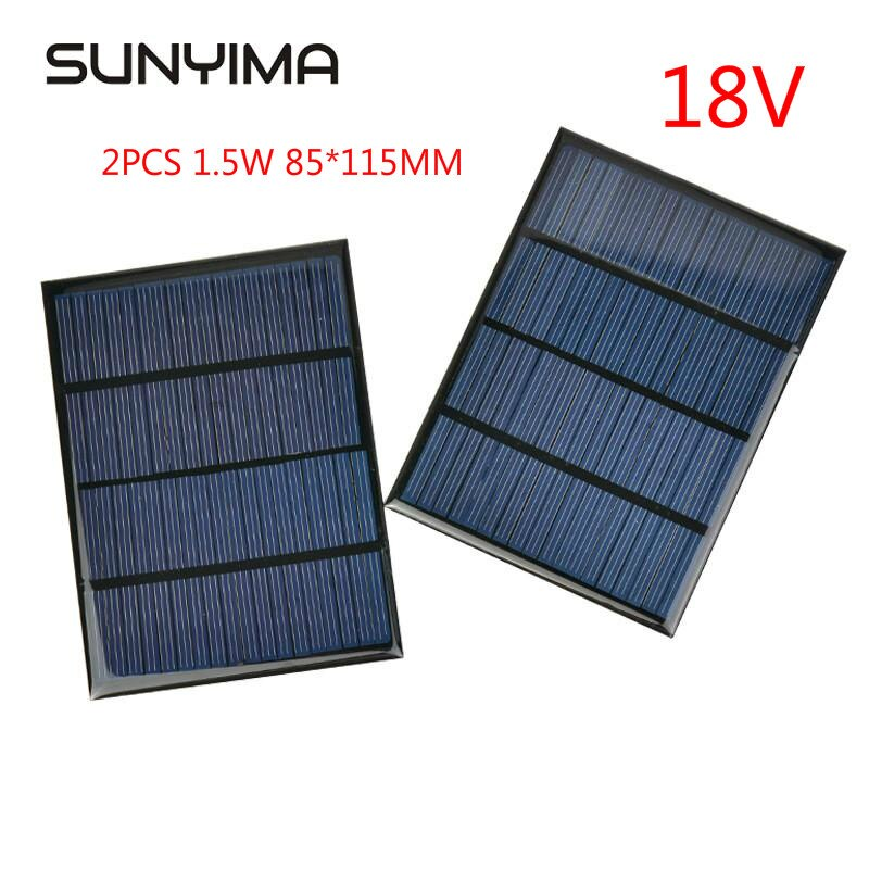 LISM 2 قطعة الكريستالات السيليكون الألواح الشمسية 18 فولت 1.5 واط الطاقة الشمسية الشمس 85*115 مللي متر شحن لتقوم بها بنفسك شاحن ورقة الايبوكسي MINI