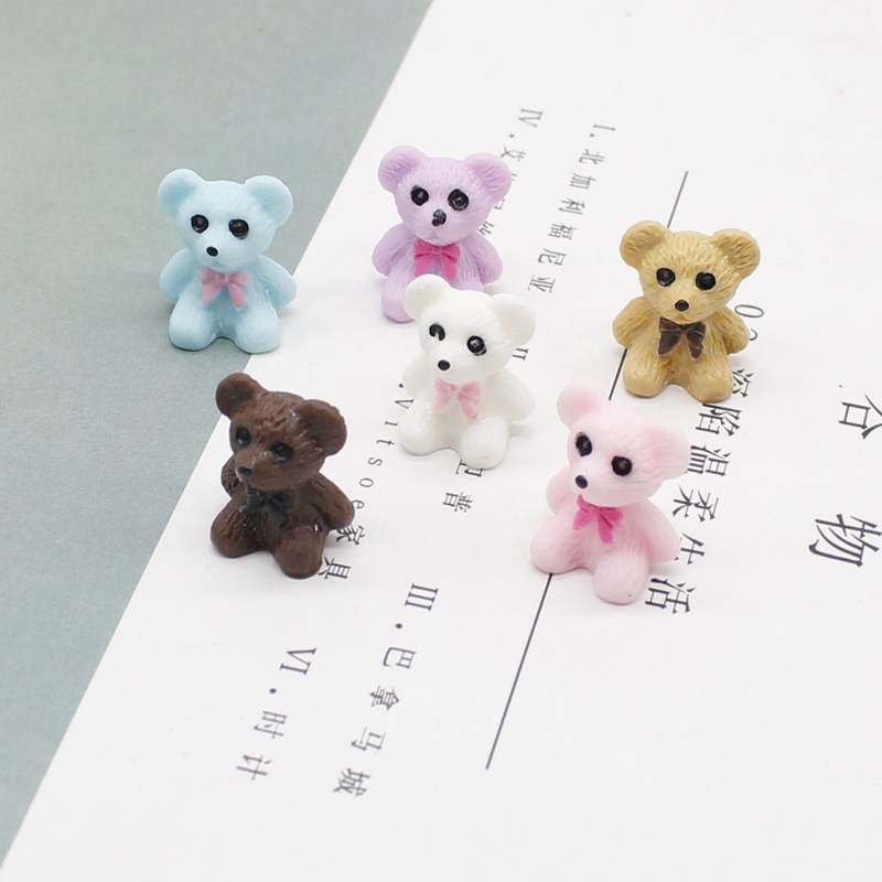 2021 new kawaii resin bow teddy bear earrings necklace keychain exquisite jewelry DIY accessories