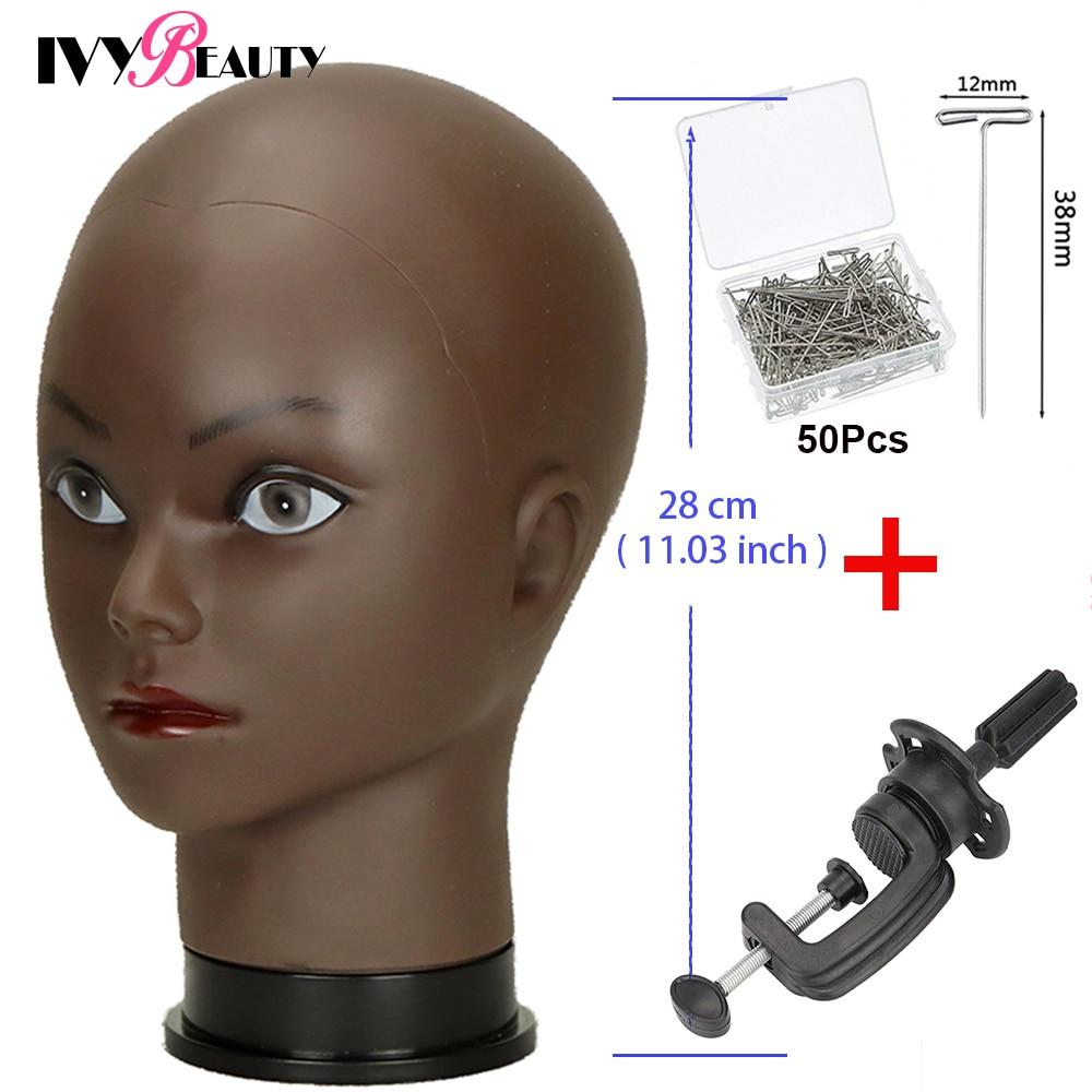 رأس عارضة أزياء أفريقية أصلع سوداء ، 22 بوصة ، مستحضرات تجميل احترافية لصنع شعر مستعار ، رأس دمية مع دبابيس T.