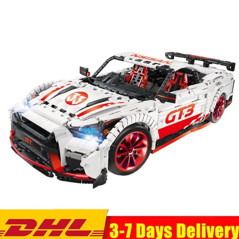 2019 MOC técnica GTR GT-R Super blanco de los corredores de carreras de alta potencia coche Kits de juegos de bloques de construcción ladrillos niños regalos de juguetes de peluche