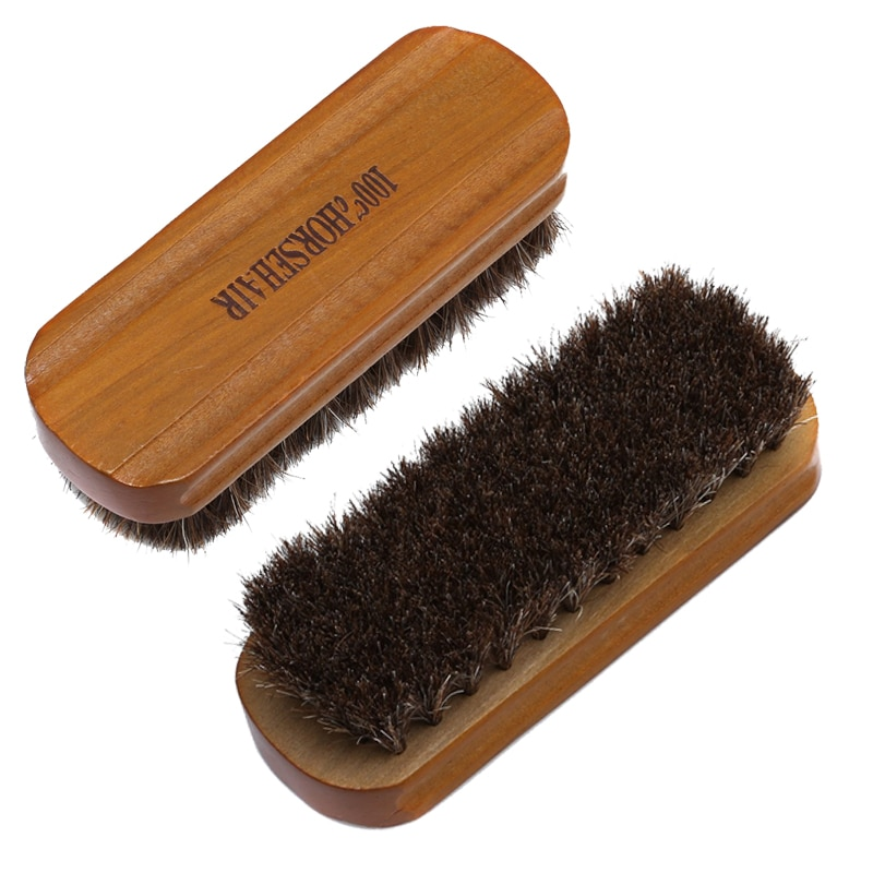 Shoe Polish Brush Horse Hair Brush Natural Leather Horse Hair Soft Polishing Tool Cleaning Brush Suede Nub Leather Boots bristles become warped head shoe brush polishing leather shoes polish wipe scrub fur soft hair