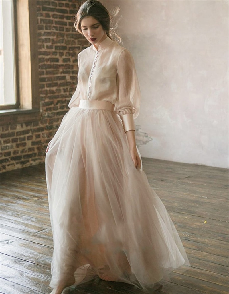 A-Line Sweep Train Two Pieces Wedding Dress 2021 Elegant Simple French Long Sleeve Bridal Gowns vestidos de mairee Wedding