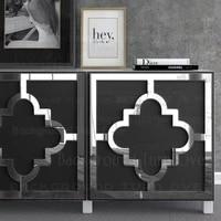 Lot de 2 autocollants miroir  papier adhesif miroir Long  decoration de salle de bains  papier adhesif miroir geometrique  ligne carree  Art R240