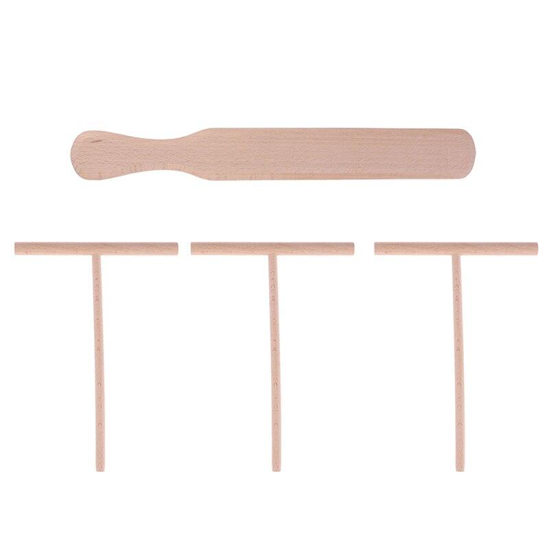 4 pces quentes pancake cozinhar utensílios de madeira crepe espalhador e espátula tortilla rake massa espalhando ferramentas