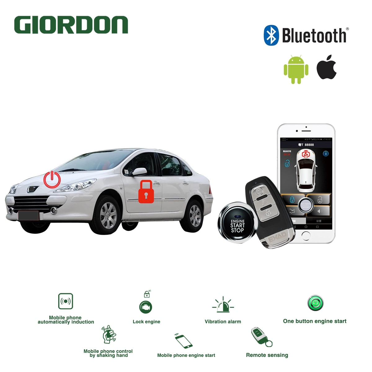 Universal de entrada sin llave PKE Sistema de Conforto hacer ios Android APP Telefone Impulso de Alarme de Carro inicio Remoto hacer motor