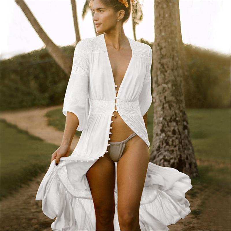 Sexy Ladies Solid White Bikini Cover up Beach Dress Women Swimwear Cotton Long Beachwear Bathing Suit Summer Holiday Cardigan sexy beach summer dresses women 2019 solid chiffon a line short holiday dress backless bowknot ladies beach cover up plus size