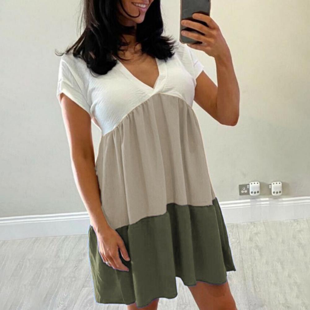 color block chest pocket dip hem tee Summer Casual Mini Dress Color Block V Neck Skin-friendly Women Short Sleeve Large Hem Ruffles Dress for Dating