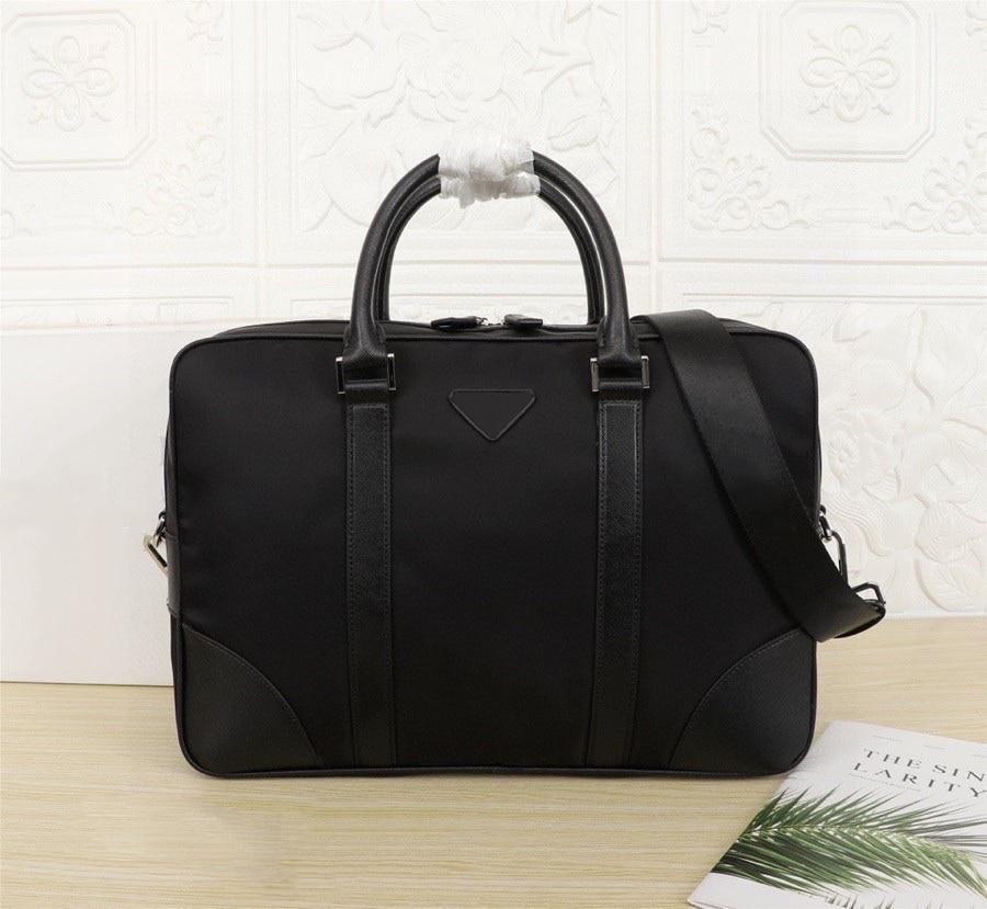 Black nylon briefcase men's briefcase leather decoration handbag large capacity computer bag fashion office business messenger b