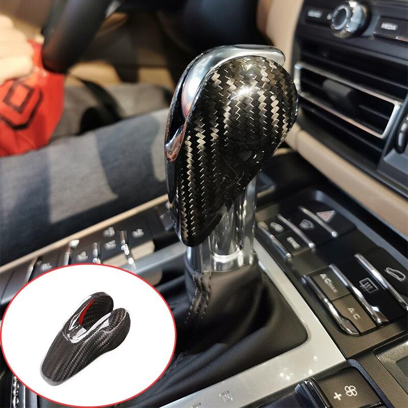 Настоящие аксессуары для автомобиля из углеродного волокна, внутренняя ручка переключения передач, Накладка для Porsche Macan Panamera Cayman 718 911 Boxster