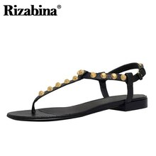 RIZABINA 10 Color Women Summer Flats Shoes Fashion Rivets  Buckle Sandals Leisure Outdoor Brand Women Shoes Plus Size 34-46