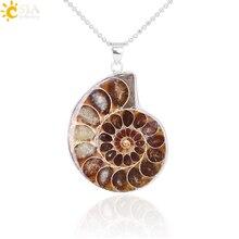 CSJA pierres naturelles pendentifs Ammonite fossiles coquillage escargot océan Reliquiae conque Animal collier déclaration hommes bijoux E252