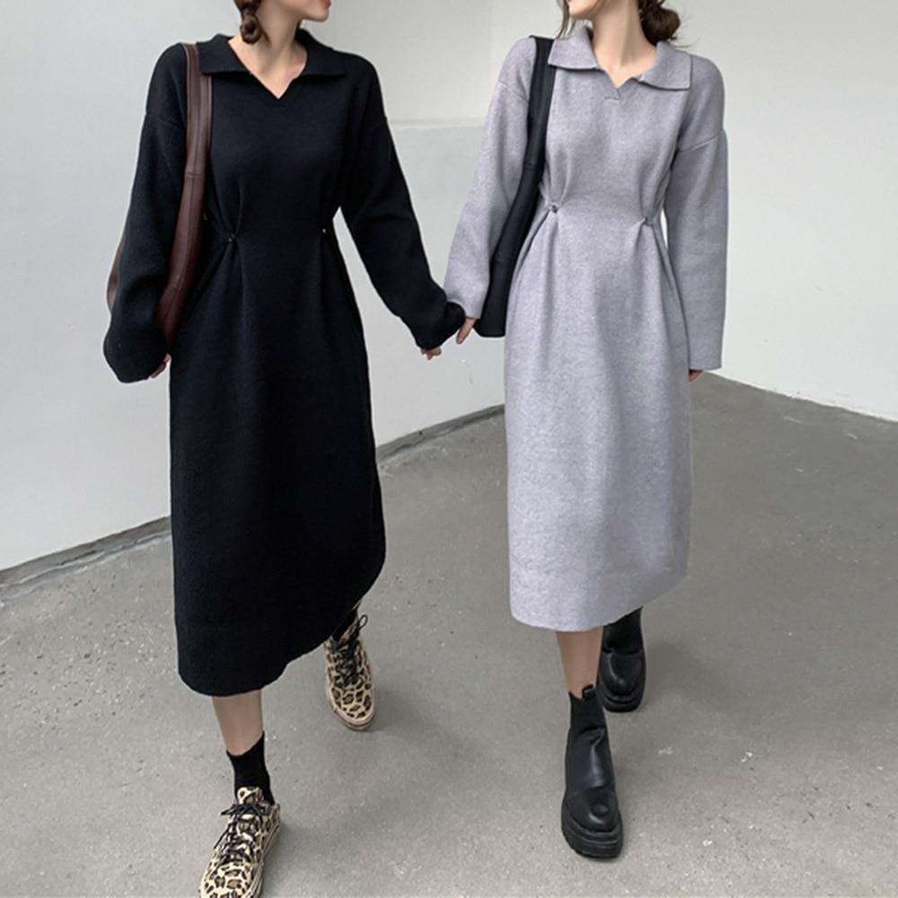 Doll Collar Collar Waist Long-sleeved Dresses Women Autumn 2021 New Lazy Wind Gray Loose Temperament Knitted Dress Vestidos