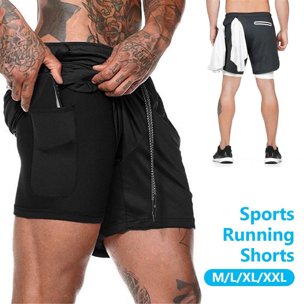Мужские беговые шорты 2 в 1, двухслойные быстросохнущие спортивные мужские шорты, шорты для фитнеса, бега, тренировок, летние мужские брюки, ...