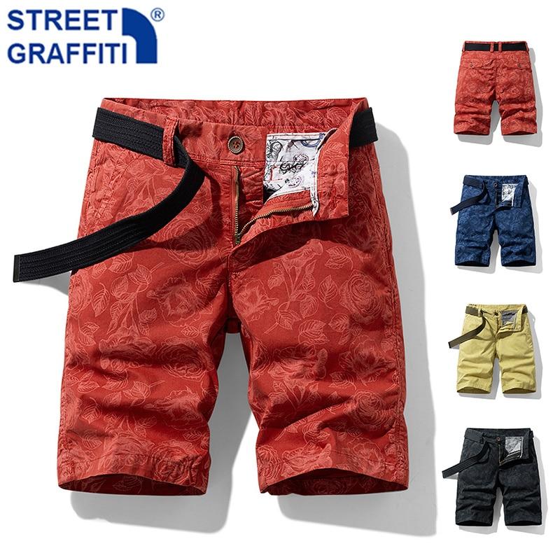 New Summer Men Beach Shorts Hip Hop Tactical Cargo Shorts Men Breeches Pockets Shorts men Casual Fashion Camouflage Rose Shorts
