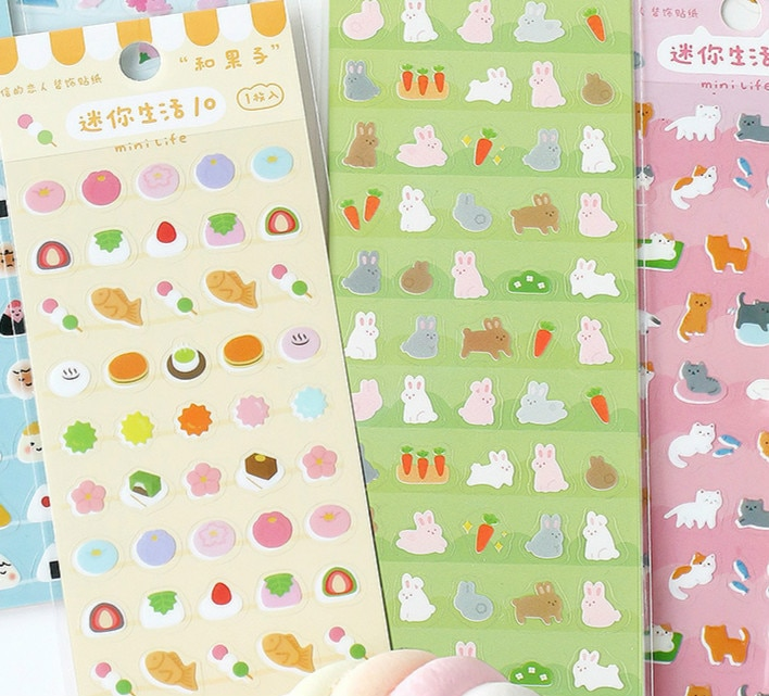 Funny Mini Life Theme Cute Cartoon Sealing Stickers Food Animal Flower PVC Sticky Sticker Gift 6*16cm