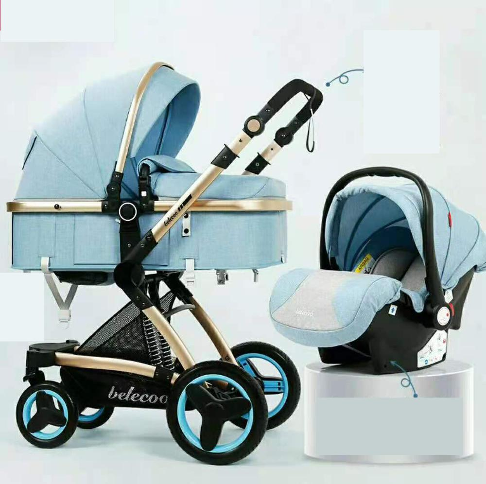 Belecoo Luxury Baby Stroller 2 in 1 Carriage High Landscape Pram Suite for Lying and Seating on 2021 enlarge