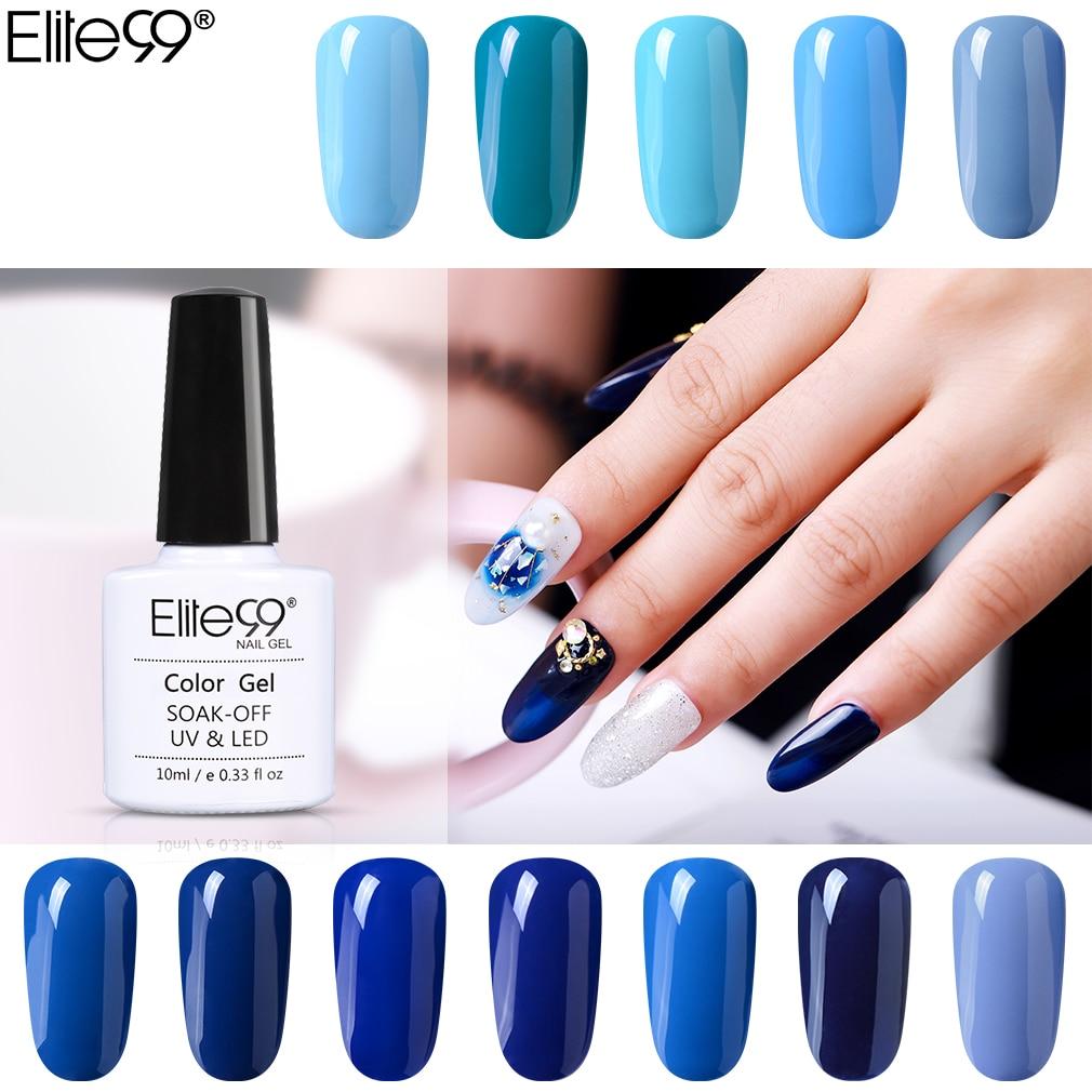 Elite99 10 ml azul série gel polonês embeber fora gel laca esmalte semi permanente uv unha polonês unha arte manicure gellak vernizes