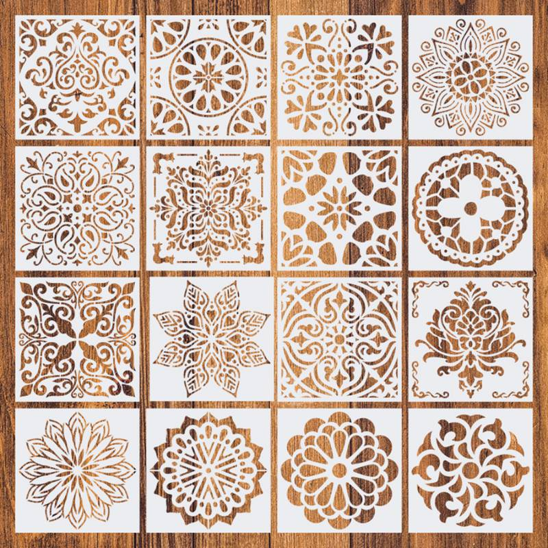 16pcs/set Furniture Decor Reusable Stencil Template Floor Wall Tile Fabric Furniture Stencils Mandala Painting Stencils