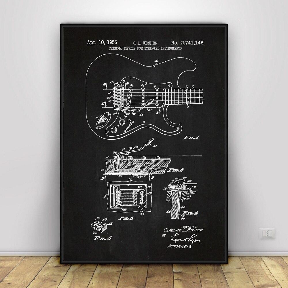 Pintura de la lona Fender Stratocaster guitarra Póster Artístico impreso plantilla pintura...