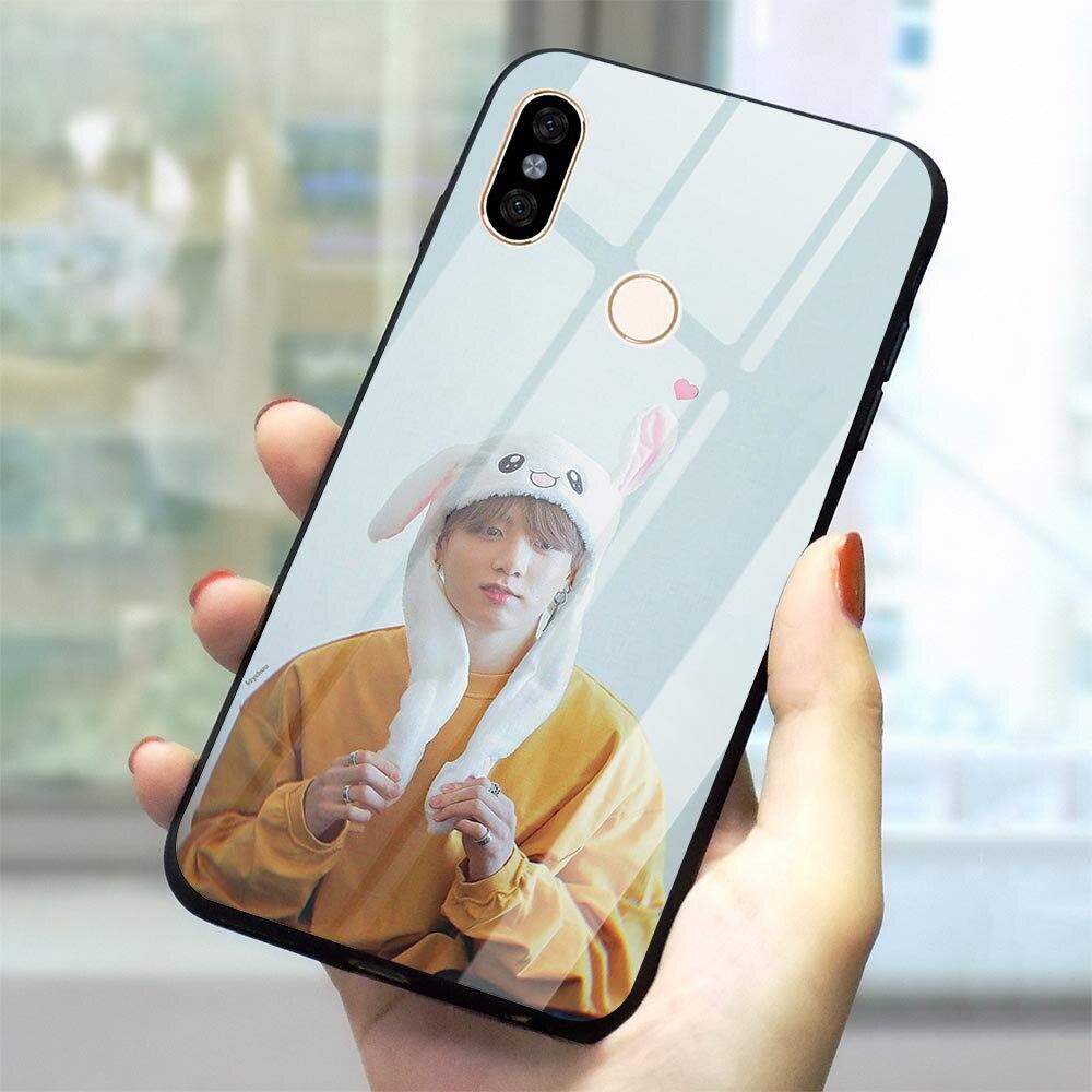 Jungkook Kpop Telefon Abdeckung für Xiao mi mi A2 Rot mi 4X 6A Fall Anmerkung 5 6 7 Pro mi a1 8 Lite 9 F1 Gehärtetem Glas