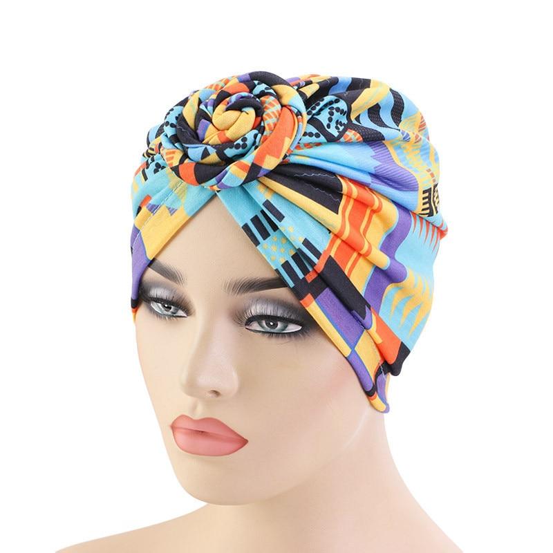 Nuevo gorro anudado con patrón africano, pañuelo para la cabeza para mujer, pañuelos musulmanes, gorro islámico para quimioterapia, accesorios para el cabello