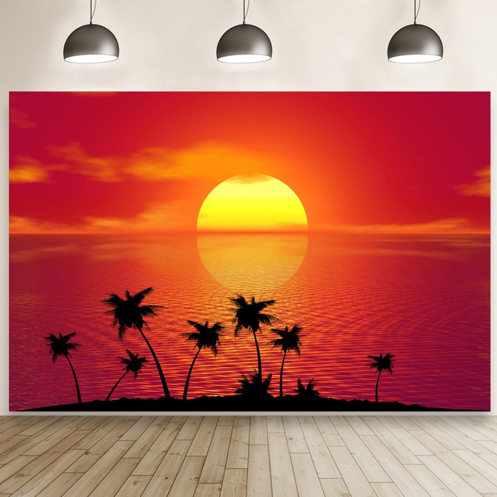 Incredible Red Sunset Over The Sea Backdrop Seaside Scenery Photo Studio Background Props Custom Home Decoration